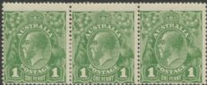 SG 83 ACSC 79(4)g. KGV Head 1d Sage-Green strip of 3 (AHSMP/273)